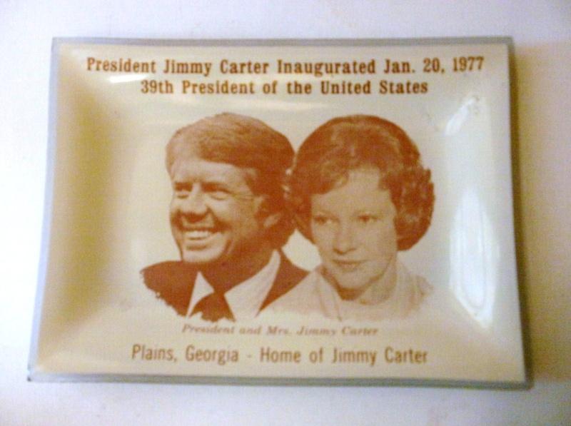 petit plat en verre peint Président and Mrs Jimmy Carter P8010113