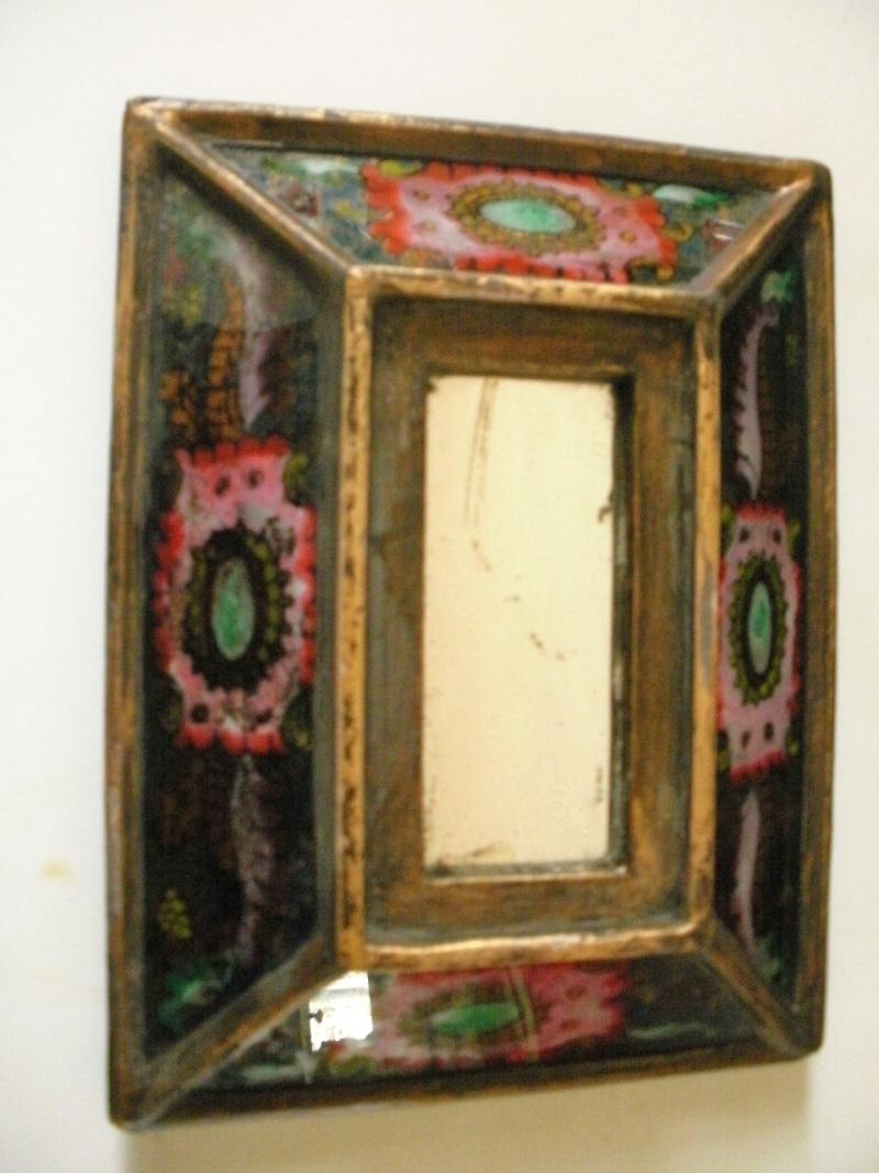 petit cadre miroir en bois décor émaillé P9050110