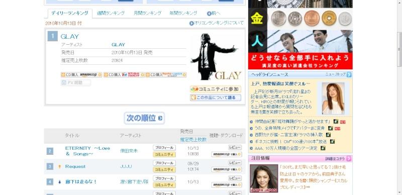 GLAY - GLAY Oricon Rank Cats10