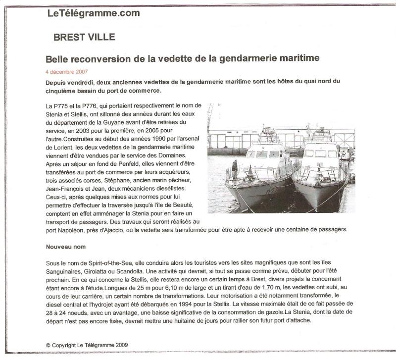 [ Divers Gendarmerie Maritime ] Reconversion des P.775 Stellis et P. 776 Sténia P_775_10