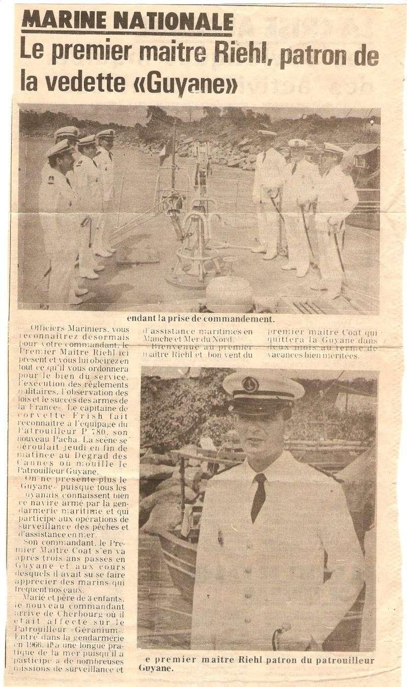 [ Divers Gendarmerie Maritime ] 1977 - Création de la brigade de gendarmerie maritime à Cayenne. Rhiel10