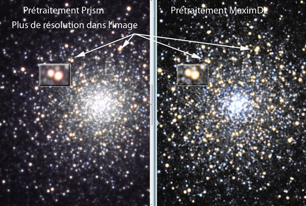 Prétraitement MaximDL vs Prism Test10