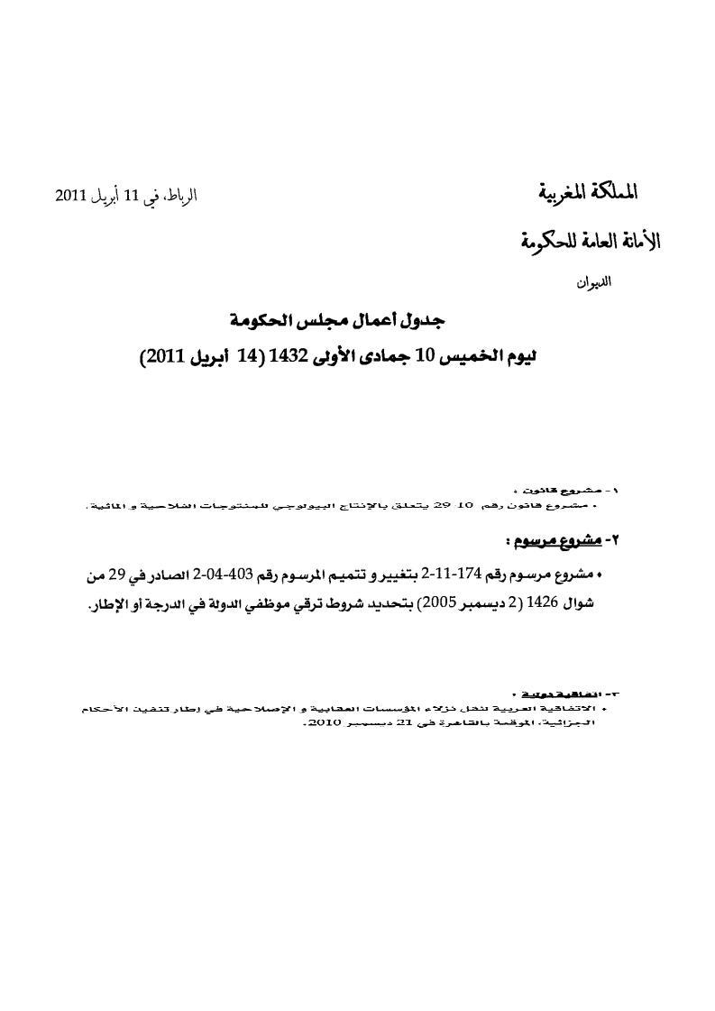 الحكومة تدرج تعديل المرسوم 403 خلال المجلس الحكومي ليوم 14 ابريل 2011 40310