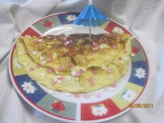 omelette aux de dés de  pommes sucrées Cuisse14