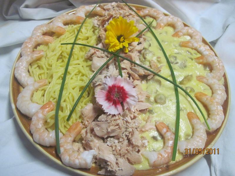 Spagehtti aux saumon rose et sauce chanpignons Spaghe11