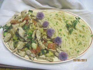 Spaghetti au poulet sauce pesto vert Spaghe13