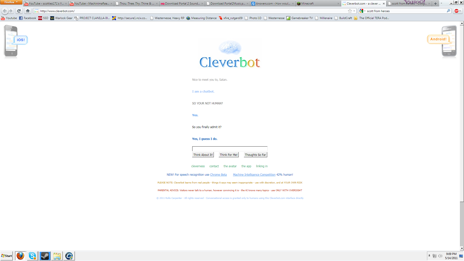 I got CleverBot to admit hes not Human! Chat_a12