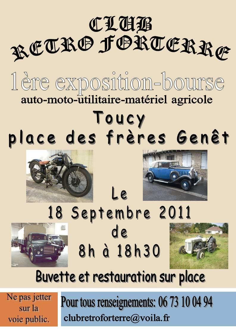 exposition-bourse autos-motos. Le 18 septembre 2011 a Toucy dép 89 Affich10