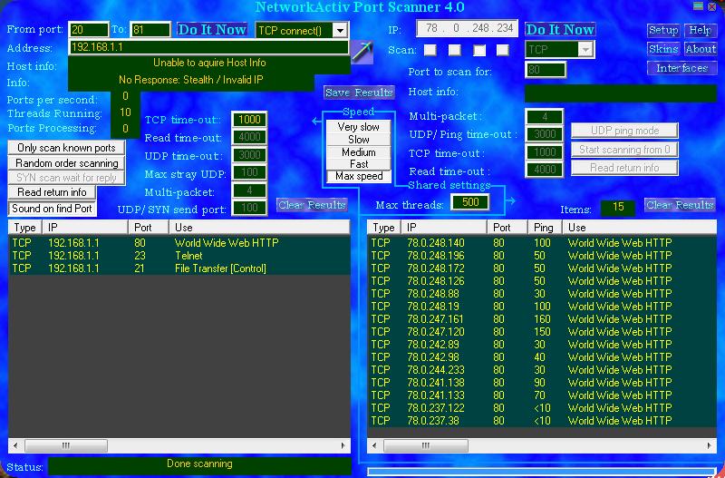 NetworkActiv Port Scanner 4.0 00310