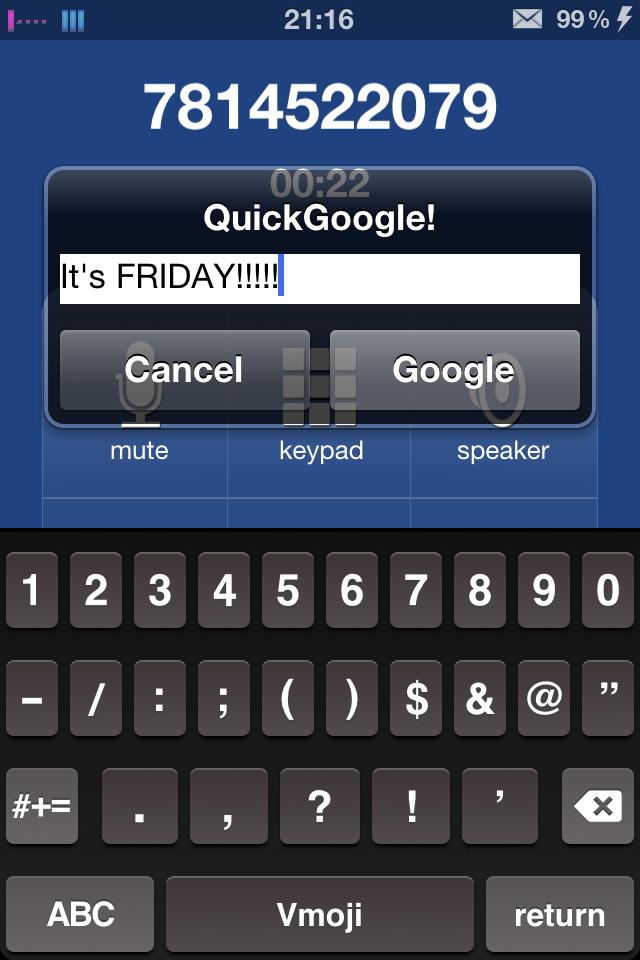 Check out this new tweak via cydia QuickGoogle Img_4710