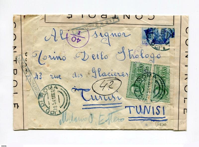 """Censure """"CONTROLE X 237"""" ?? sur lettre d'Italie pour Tunis en mai 1941. 1_cens11"""