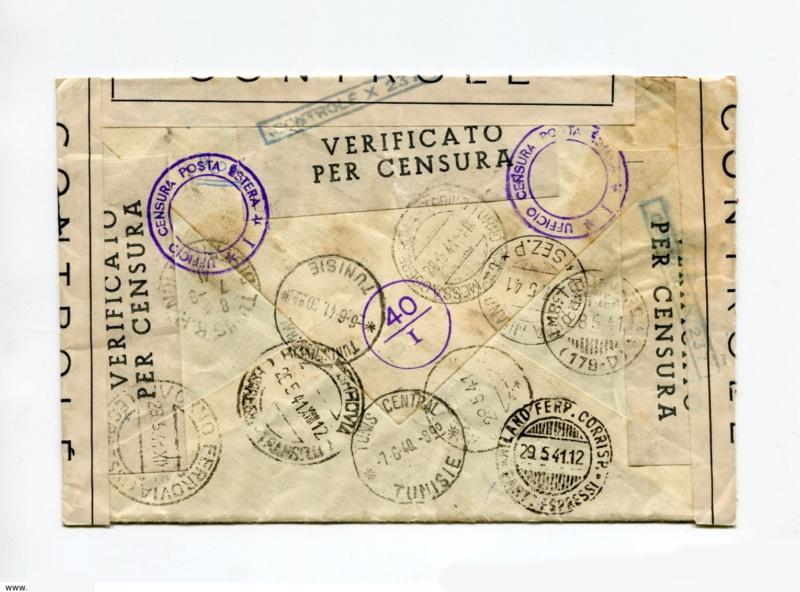 """Censure """"CONTROLE X 237"""" ?? sur lettre d'Italie pour Tunis en mai 1941. 1_cens12"""