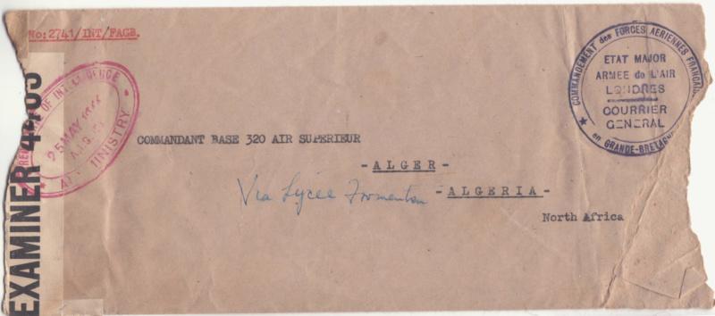 Lettre de l'Etat Major de l'armée de l'air - Londres de mai 1944 pour Alger. _brit_16
