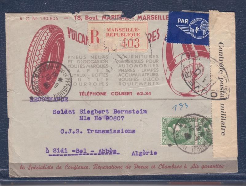 Censure UA 9  sur lettre du18.09.40 de Marseille-> l'Algérie - non listé chez Samuel! _del_610