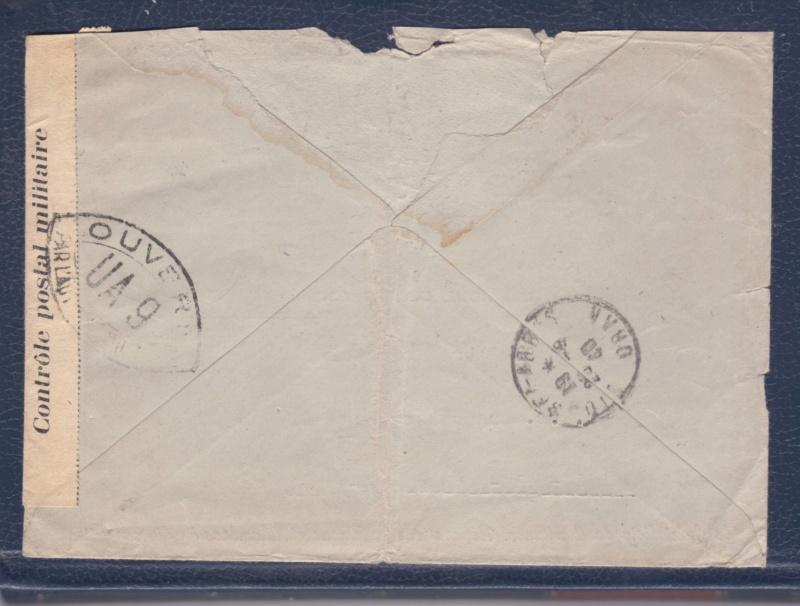 Censure UA 9  sur lettre du18.09.40 de Marseille-> l'Algérie - non listé chez Samuel! _del_611