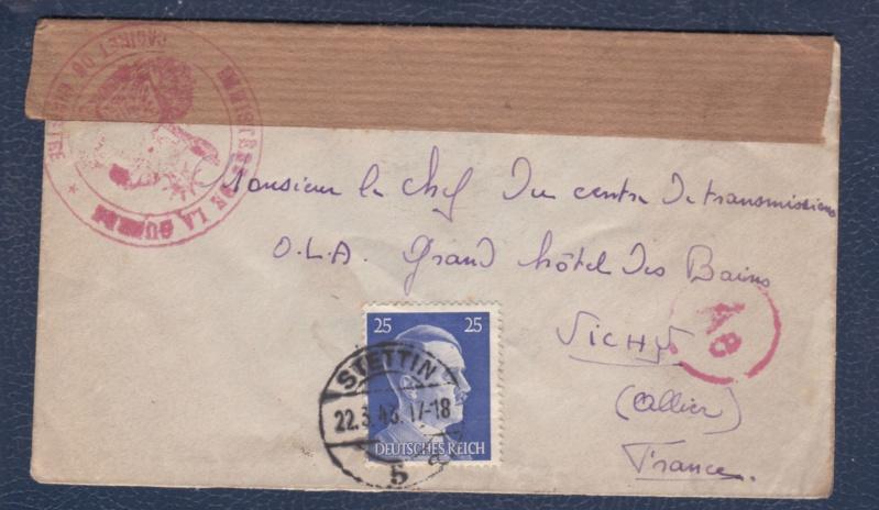 """Cachet type Déesse assisse avec inscription """"MINISTERE DE LA GUERRE / CABINET DU MINISTRE"""" censure de Vichy. _del_614"""