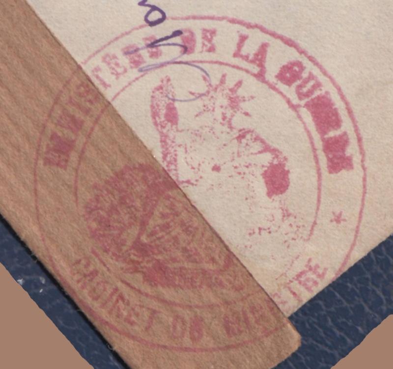 """Cachet type Déesse assisse avec inscription """"MINISTERE DE LA GUERRE / CABINET DU MINISTRE"""" censure de Vichy. _del_615"""