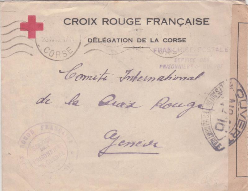 Lettre d'Ajaccio du 23.11.1944 contrôlée à Lyon -Censure N°16 avec au verso des cachets de lecteur AY et 99 _n16_r10