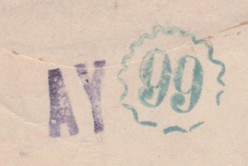 Lettre d'Ajaccio du 23.11.1944 contrôlée à Lyon -Censure N°16 avec au verso des cachets de lecteur AY et 99 _n16_v10
