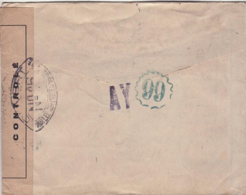 Lettre d'Ajaccio du 23.11.1944 contrôlée à Lyon -Censure N°16 avec au verso des cachets de lecteur AY et 99 _n16_v11