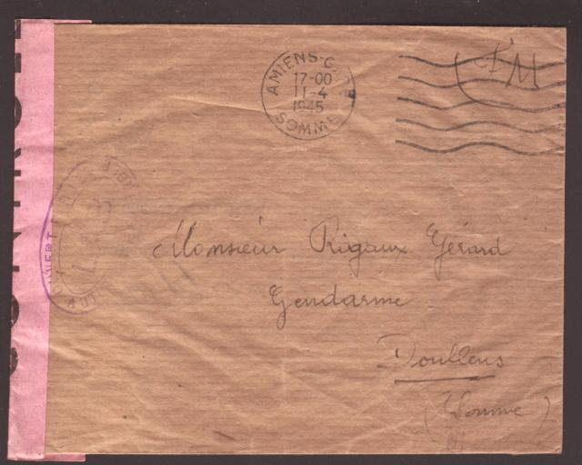 """Lettre en FM d'Albert (Somme) de juin 45 pour Avignon avec censure """"LAB""""- non répertoriée !! Lab_1r10"""