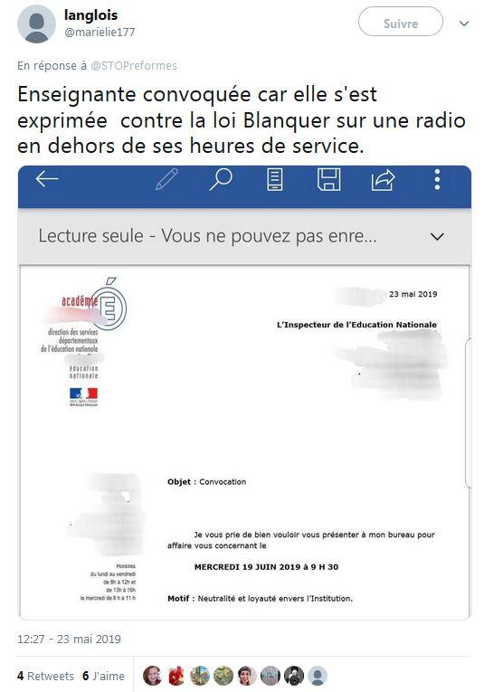 Jean-Michel Blanquer : «Je suis prêt à amender mon projet de loi» sur l'école - Page 4 Convoc10
