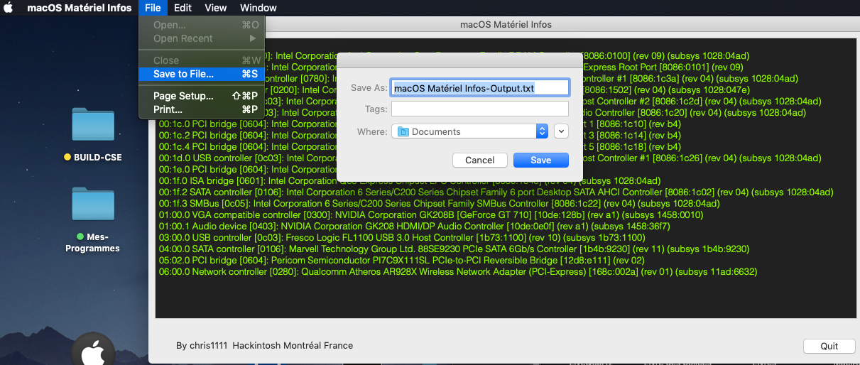macOS Matériel Infos Captu348