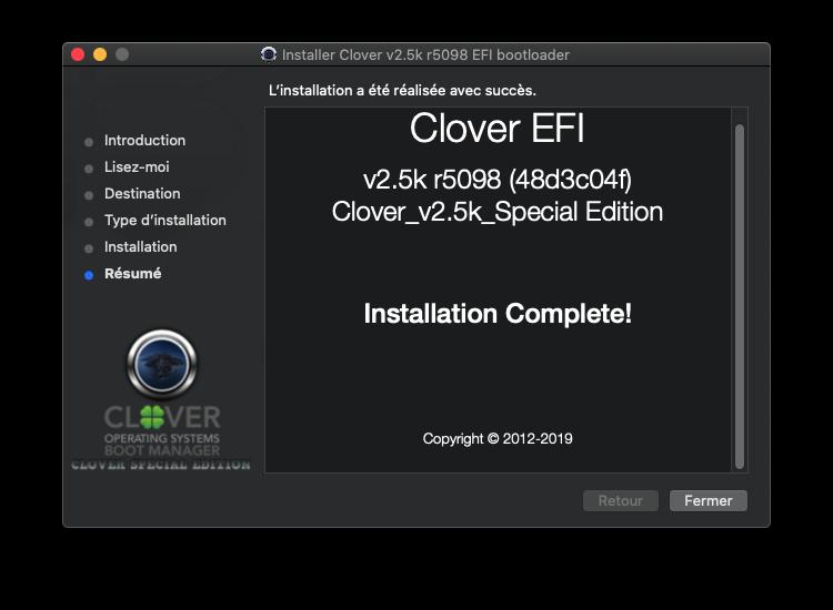 Échec Installation de Clover avec MacOS Mojave HD Captu899