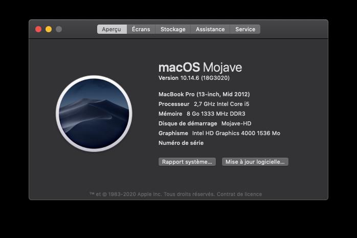 Mise a jour Mojave 10.14.6 (18G3020) Captu907