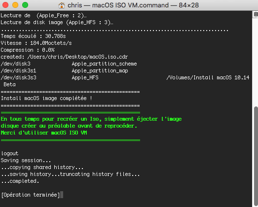 Script pour créer un iso  de 10.9  a 10.14  pour VMware Captur18