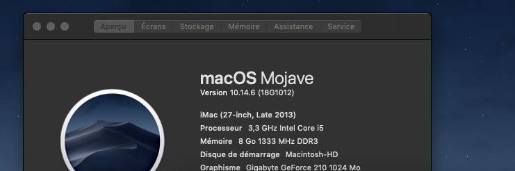 macOS Mojave 10.14.6 Mise a jour de sécurité 2019 (18G1012) Mojave15