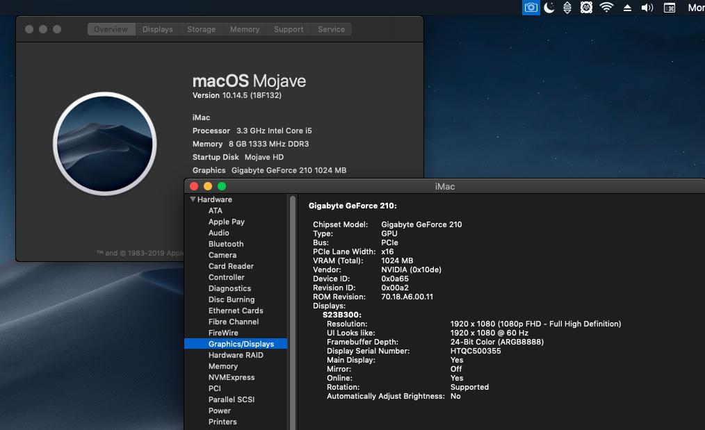 macOS Mojave 10.14.5 Finale version  (18F132 ) Scree123