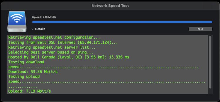 Network Speed Test Scree270