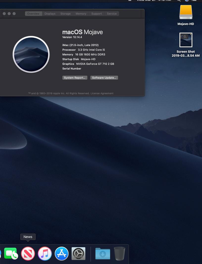 macOS Mojave 10.14.4 Finale version (18E226)  Screen21
