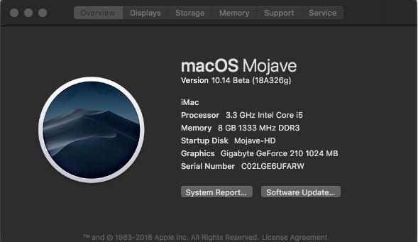 Install macOS Mojave 10.14 Utilisant Graphics GeForce 210 1Gig Screen24