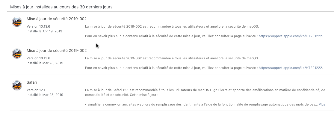 Mise a jour de sécurité 2019-002 High Sierra 10.13.6 (17G6030) Update13