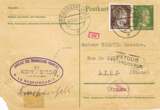 Entier postal allemand expédié par l'Amicale des Travailleurs  Français de Königsberg en 1943 Ccf02017