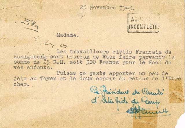 Entier postal allemand expédié par l'Amicale des Travailleurs  Français de Königsberg en 1943 Ccf02018