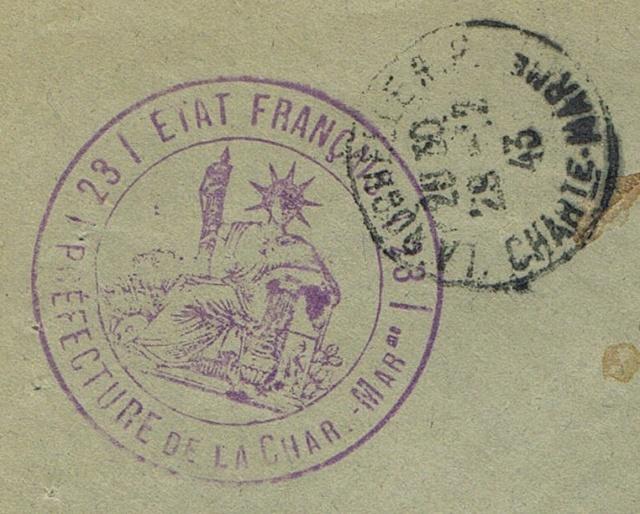 """Cachet administratif """" ETAT FRANCAIS /22/ PREFECTURE DE CHARENTE INFERIEURE"""" (1942) Ccf03011"""