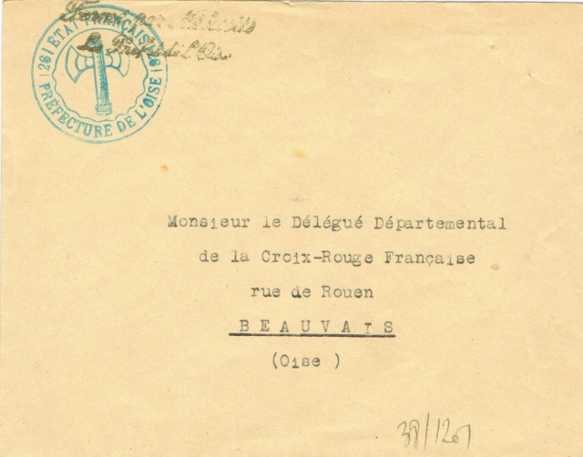 """Cachet administratif """" ETAT FRANCAIS /22/ PREFECTURE DE CHARENTE INFERIEURE"""" (1942) Ccf03013"""