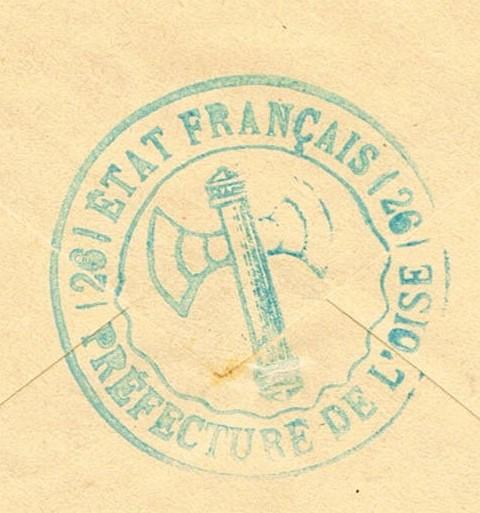 """Cachet administratif """" ETAT FRANCAIS /22/ PREFECTURE DE CHARENTE INFERIEURE"""" (1942) Ccf03015"""