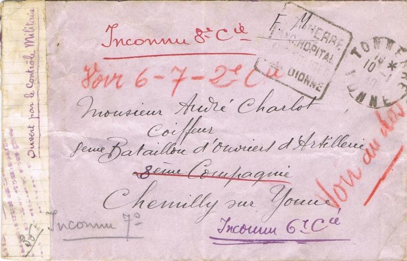 Bande de fermeture  sur papier de cahier d'écolier avec inscription à la plume «  OUVERT PAR LE CONTROLE MILITAIRE  »  en janvier 1940. Ccf05110