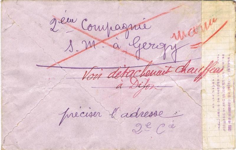 Bande de fermeture  sur papier de cahier d'écolier avec inscription à la plume «  OUVERT PAR LE CONTROLE MILITAIRE  »  en janvier 1940. Ccf05112