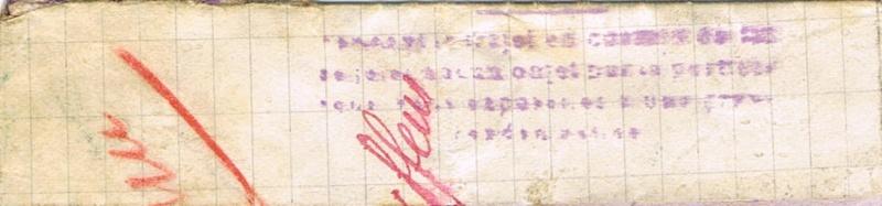 Bande de fermeture  sur papier de cahier d'écolier avec inscription à la plume «  OUVERT PAR LE CONTROLE MILITAIRE  »  en janvier 1940. Ccf05113