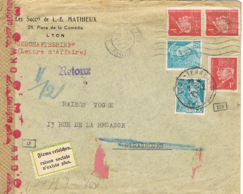 Griffe  « encadrée A  »  sur lettre commerciale  France   -  Allemagne Ccf07010