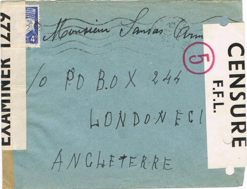 LETTRE DU 12. 9.42 TOULOUSE GARE pour  c/o  PO  BOX   244  LONDRES  E. C. 1 AVEC DOUBLE CENSURE :  OBE  1229    et  OBE  F.F.L. Ccf08010