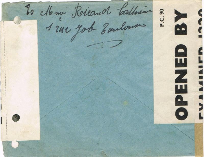 LETTRE DU 12. 9.42 TOULOUSE GARE pour  c/o  PO  BOX   244  LONDRES  E. C. 1 AVEC DOUBLE CENSURE :  OBE  1229    et  OBE  F.F.L. Ccf08011