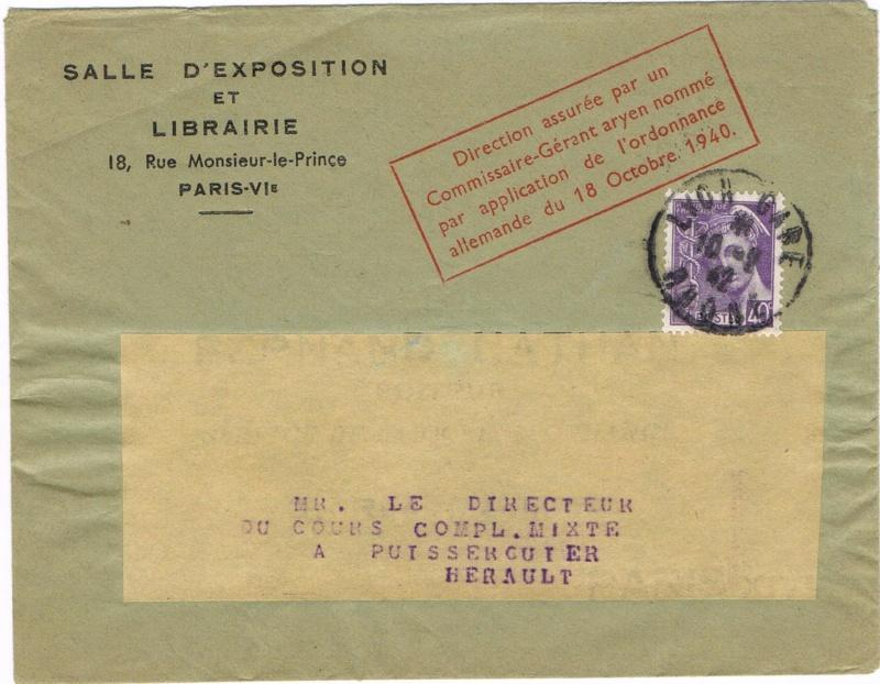 Edition Nathan : « Direction assurée par un Commissaire-Gérant aryen nommé par application de l'ordonnance allemande du 18 octobre 1940  »   Ccf10116