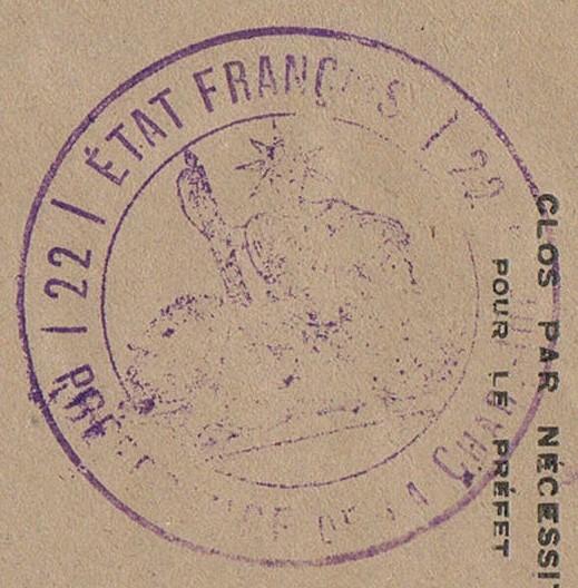 """Cachet administratif """" ETAT FRANCAIS /22/ PREFECTURE DE CHARENTE INFERIEURE"""" (1942) Ccf20010"""
