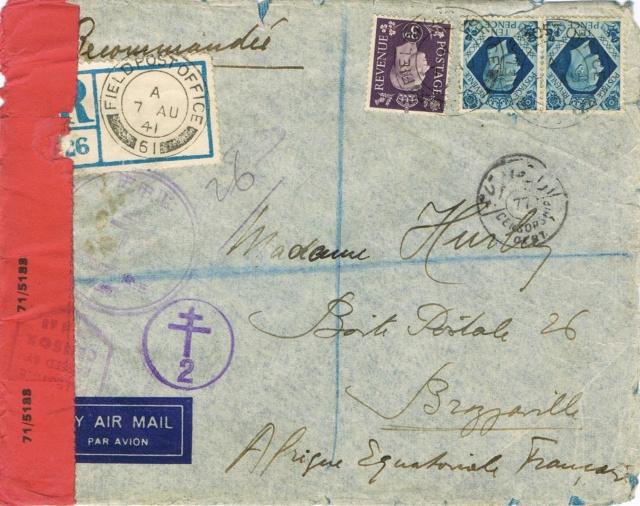 """Lettre recommandée par avion d'un  F.F.L. oblitération """" FIELDPOST OFFICE 61 »  du 7 août 1941 pour BRAZZAVILLE Ccf24012"""